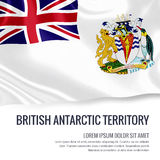 Silky flag of British Antarctic Territory waving on an isolated white background with the white text area for your advert message. Royalty Free Stock Image