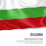 Silky flag of Bulgaria waving on an isolated white background with the white text area for your advert message. Royalty Free Stock Photo