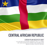 Silky flag of Central African Republic waving on an isolated white background with the white text area for your advert message. royalty free illustration