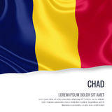 Silky flag of Chad waving on an isolated white background with the white text area for your advert message. Stock Photo