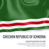 Silky flag of Chechen Republic of Ichkeria waving on an isolated white background with the white text area. Stock Images