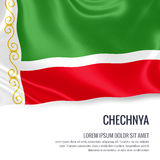 Silky flag of Chechnya waving on an isolated white background with the white text area for your advert message. Royalty Free Stock Images