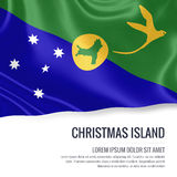 Silky flag of Christmas Island waving on an isolated white background with the white text area for your advert message. 3D rendering Royalty Free Stock Images