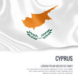 Silky flag of Cyprus waving on an isolated white background with the white text area for your advert message. Stock Image