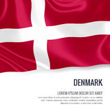 Silky flag of Denmark waving on an isolated white background with the white text area for your advert message. Stock Photo