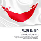 Silky flag of Easter Island waving on an isolated white background with the white text area for your advert message. Royalty Free Stock Photos