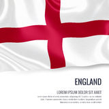 Silky flag of England waving on an isolated white background with the white text area for your advert message. Stock Image