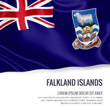 Silky flag of Falkland Islands waving on an isolated white background with the white text area for your advert message. 3D rendering Stock Photos