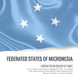Silky flag of Federated States of Micronesia waving on an isolated white background with the white text area. Stock Photo