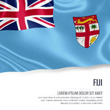 Silky flag of Fiji waving on an isolated white background with the white text area for your advert message. Royalty Free Stock Photo