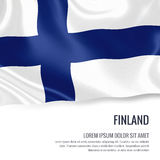 Silky flag of Finland waving on an isolated white background with the white text area for your advert message. 3D rendering Stock Photo