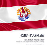 Silky flag of French Polynesia waving on an isolated white background with the white text area for your advert message. Royalty Free Stock Photo