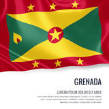 Silky flag of Grenada waving on an isolated white background with the white text area for your advert message. Royalty Free Stock Images