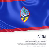 Silky flag of Guam waving on an isolated white background with the white text area for your advert message. Stock Photos