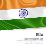 Silky flag of India waving on an isolated white background with the white text area for your advert message. Royalty Free Stock Photo