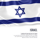 Silky flag of Israel waving on an isolated white background with the white text area for your advert message. Stock Photo