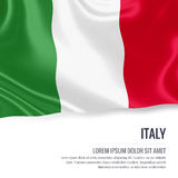 Silky flag of Italy waving on an isolated white background with the white text area for your advert message. Royalty Free Stock Photos