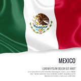 Silky flag of Mexico waving on an isolated white background with the white text area for your advert message. Stock Photography
