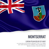 Silky flag of Montserrat waving on an isolated white background with the white text area for your advert message. Stock Photo