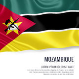 Silky flag of Mozambique waving on an isolated white background with the white text area for your advert message. Royalty Free Stock Images