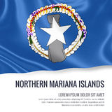 Silky flag of Northern Mariana Islands waving on an isolated white background with the white text area for your advert message. Stock Photography