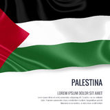 Silky flag of Palestina waving on an isolated white background with the white text area for your advert message. Royalty Free Stock Photography