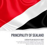 Silky flag of Principality of Sealand waving on an isolated white background with the white text area for your advert message. Royalty Free Stock Images