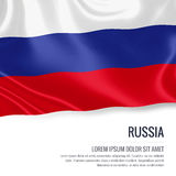 Silky flag of Russia waving on an isolated white background with the white text area for your advert message. 3D rendering Royalty Free Stock Image