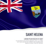 Silky flag of Saint Helena waving on an isolated white background with the white text area for your advert message. Royalty Free Stock Image