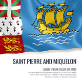 Silky flag of Saint Pierre and Miquelon waving on an isolated white background with the white text area for your advert message. Royalty Free Stock Photos