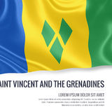 Silky flag of Saint Vincent and the Grenadines waving on an isolated white background with the white text area. Stock Photo