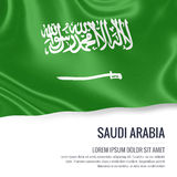 Silky flag of Saudi Arabia waving on an  white background with the white text area for your advert message. Royalty Free Stock Image