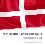 Silky flag of Sovereign Military Order of Malta waving on an isolated white background with the white text area. Stock Photo