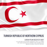 Silky flag of Turkish Republic of Northern Cyprus waving on an isolated white background with the white text area. Stock Image