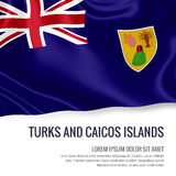 Silky flag of Turks and Caicos Islands waving on an isolated white background with the white text area for your advert message. Royalty Free Stock Photos