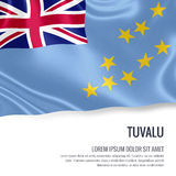 Silky flag of Tuvalu waving on an isolated white background with the white text area for your advert message. Royalty Free Stock Photos