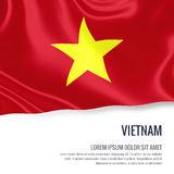 Silky flag of Vietnam waving on an isolated white background with the white text area for your advert message. vector illustration