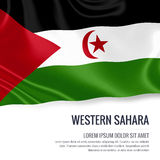 Silky flag of Western Sahara waving on an isolated white background with the white text area for your advert message. Royalty Free Stock Photography