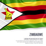 Silky flag of Zimbabwe waving on an isolated white background with the white text area for your advert message. Royalty Free Stock Image