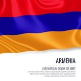 Silky flaga Armenia falowanie na odosobnionym białym tle z białym teksta terenem dla twój ogłoszenie wiadomości Zdjęcie Stock