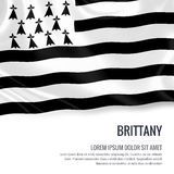 Silky flaga Brittany falowanie na odosobnionym białym tle z białym teksta terenem dla twój ogłoszenie wiadomości Obraz Stock