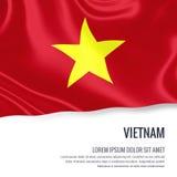 Silky flaga Wietnam falowanie na odosobnionym białym tle z białym teksta terenem dla twój ogłoszenie wiadomości ilustracja wektor