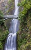 Silky Multnomah Falls & Benson Footbridge Stock Photography