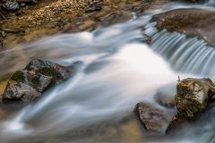 Silky river. Autumn Smoky Mountain stream long exposure silky water Royalty Free Stock Photos