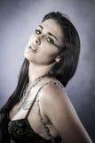 Silky, Sensual brunette dressed in black lingerie Stock Photography