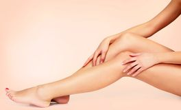 Free Silky Smooth Skin Of Female Legs After Depilation. Stock Photo - 127450470