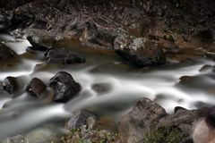 Silky smooth water over rocks Stock Photo