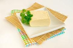 Silky tofu on bamboo mat Royalty Free Stock Images