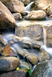 Silky water down the creek. Long exposure of water running down a Putah Creek tributary in Winters, California, USA, after the particularly stormy winter of 2017 Stock Image