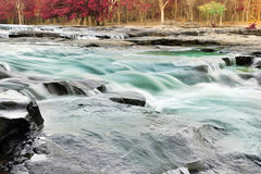 Silky water flowing in a river Royalty Free Stock Photos